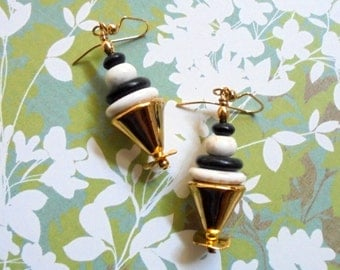 Black, White and Gold Earrings (2523)