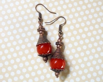 Burnt Orange and Copper Earrings (2603)