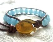 Aquamarine Leather Wrap Bracelet, March Birthstone, Aquamarine Jewelry, Gold Fish Bracelet, Vintage Goldfish Button, Aquamarine Bracelet