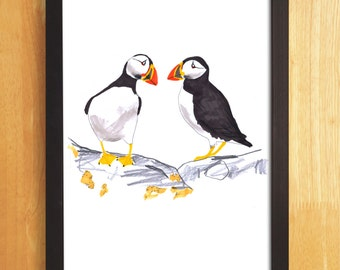 Puffins Print, Puffins Illustration, Children's Art Print, Seabird Print, Nursery Wall Art