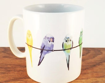 White Ceramic Budgies Blue Green Mug Budgerigar Yellow Lilac Birds Parrot Parrokeet Pets Cup