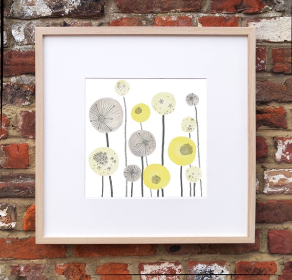 Yellow and Grey Seed head Spheres graphic floral print. As seen in 'Ideal Home Magazine'.