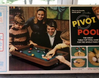 Pivot Pool game in original box vintage 1972 endorsement from Lucille Ball on box Missing 2 balls Number 1 and 8