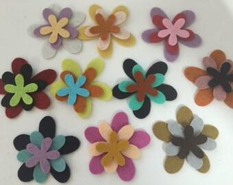 Wool Felt Blossoms Flowers 30 total - Random Colored 3423