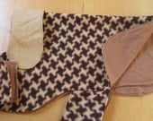 ENGLISH BULLDOG Reversible Coat,Fleece,Fall, winter dog coat, Ski wear,  Brown,Tan, Black,Reversible Bulldog coat,Herringbone polar fleece