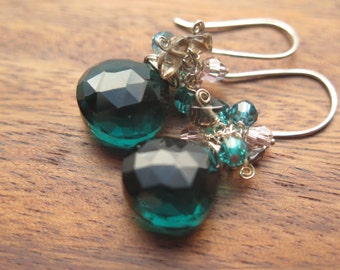 Teal Quartz and Crystal Earrings