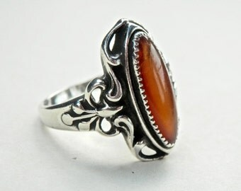 Vintage Amber Ring Art Nouveau Style Sterling Silver Setting Brown Amber Free Shipping Size 8.75 Ring