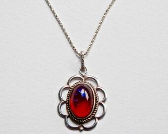 Dragons Breath Necklace Silver Dragons Breath Pendant Victorian Revival Opal