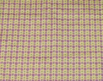 Cotton Fabric Mumms the Word Debbie Mumm 1 Yard Quilting Crafting Sewing Fabric Material Yellow Purple Grid Print