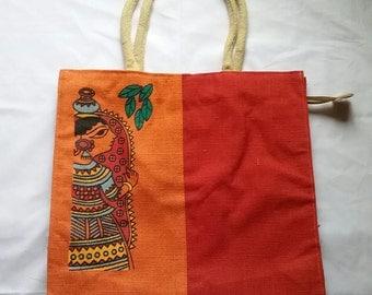 Red and Orange Burlap Tote bag, Wedding bag, bride bag, reusable bag, bride gift, party tote, eco friendly bag