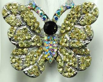 Gold Rhinestone Butterfly Ring/Aurora Borealis/Spring/Summer Jewelry/Wedding Jewelry/Adjustable Ring/Under 20 USD