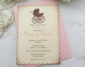 Girl Carriage Baby Shower Invitations Invite Pram Printed Invitations Set of 10