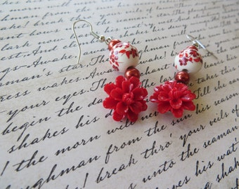 Porcelain Glass Pearls and Red Resin Floral Dangling Earrings
