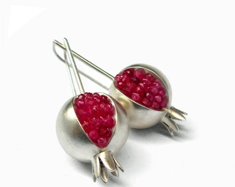 Pomegranate Earrings - Ruby silver Earrings - Pink Gemstone Earrings - Pomegranate Silver Earrings - silver earrings - pomegranate jewelry