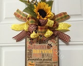 Fall Harvest Door Hanger ~ Faux Burlap Wall Decor ~ Welcome Autumn ~ Harvest Saying Welcome ~ Pumpkin Welcome  ~ Happy Fall
