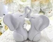 Wedding Cake Topper, Light Grey Elephants, Bride and Groom Keepsake, Fully Custom