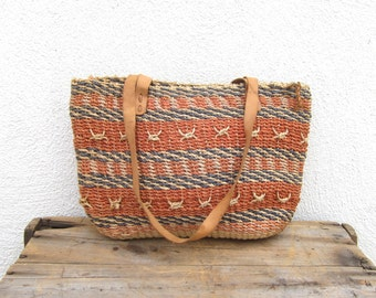 90s Sisal Woven Straw Tote African Beach Bag