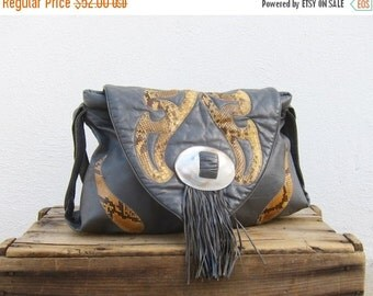 15% Off Out Of Town SALE Hobo Fringed Snakskin Slouchy Grey leather Shoulder Bag