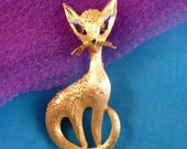 Vintage Mamselle Cat Brooch, Figural Kitty Pin with Green Rhinestones