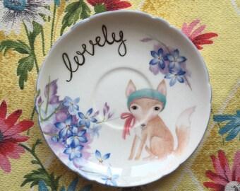 Lovely Little Violet Fox Vintage Illustrated Plate