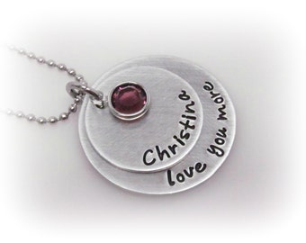 Personalized Love You More Necklace Love You More Jewelry Quote Jewelry Hand Stamped Personalized Jewelry