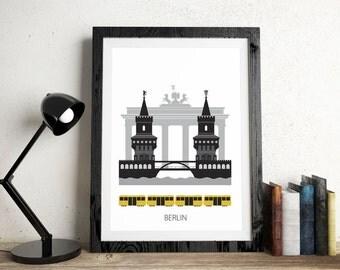 Berlin, city, Art print, Scandinavian design, modern poster