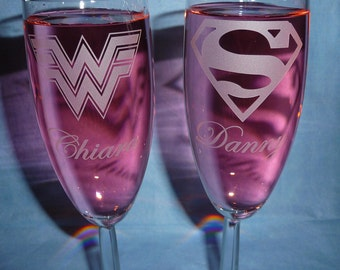 Toasting Champagne Flutes with NAMES, Super Hero Couple (CHOOSE 2 HEROES), Wedding Flutes, Champagne Flutes, Celebration