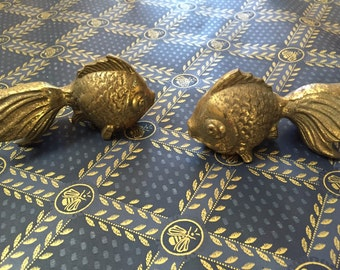 Asian brass goldfish figures