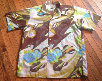 Vintage Diamond Head Hawaiian Shirt     Polyester XL