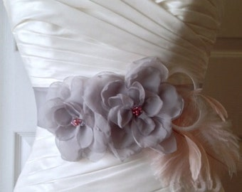 "Belts and Sashes, Gray Sash, Wedding Sash Belt, Bridal Accessories Two Handmade Gray Flowers on 1.5"" Gray Sash JOSIE DUO"