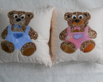 Baby Blue  or Pink Teddy Bear Pillow for Kids Nursery Kids Rooms Baby Shower