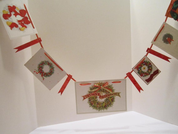 Christmas Card Banner Bunting Garland - Repurposed and Embellished Christmas Card Banner Garland - Red Gold Green White