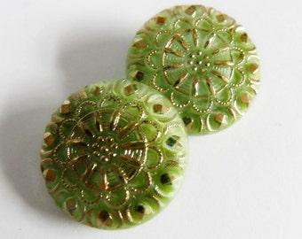Czech Glass Buttons Lime Green