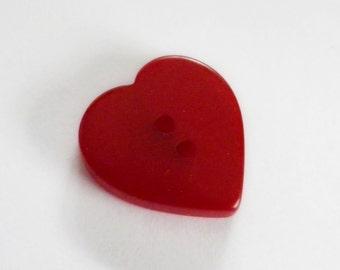 Bakelite Button Cherry Red Heart