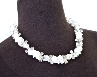 vintage Czech bead necklace - 1950s white/clear floral cluster necklace