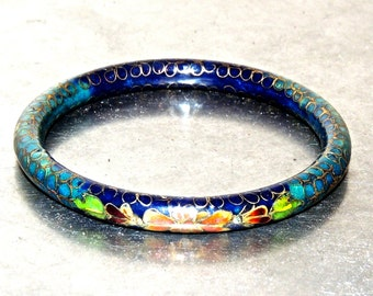 vintage cloisonne bangle - 1930s-40s bangle bracelet