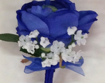New Artificial Royal Blue Boutonniere, Blue Rose Boutonniere, Royal Blue Buttonhole, Royal Blue Bout