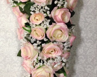 "New Artificial Rustic Pink Rose Wedding Bouquet, Cascading 21"" in length. Baby's Breath and Pink Rose Bridal Bouquet"