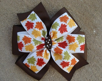 Leaves hair bow double layared Fall Leaves Hair Bow Leaves Hair Bow 4 Inch Hair Bow Girls Hair Bow Baby Hair Bow Fall Theme Hair Bow Leaves