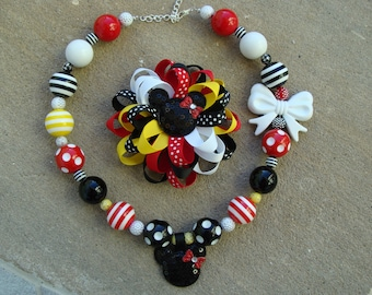 Hair Bow Mickey Mouse Hair Bow and chunky necklace
