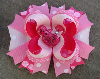 Pink Minnie Mouse Hair Bow-Large Hair bow - Pink bow boutique hair bow Minnie Mouse Hair Bow