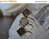 VALENTINES SALE MOON Rising  /// Size 6 1/2 /// Druzy Ring /// Electroformed 24kt Gold