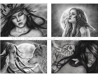 ACEO Print Pack Spiritual Native American Indian Wolf Owl Raven Moon Art Zindy Nielsen