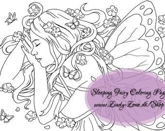 Sleeping Fairy Fae Butterflies Fantasy Girl Flower Coloring Page Zindy Nielsen