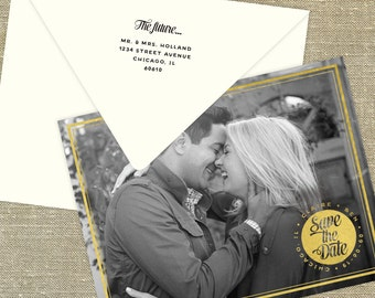 Real Gold Foil Engagement Photo Save the Date, set of 50, includes envelopes and return address printing; 12 different foil colors available