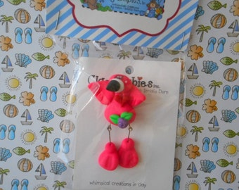 FREE SHIPPING Polymer Clay Dangly Flamingo - PIN Clay Babies Helen Terlalis Dorn collectible hot pink whimsical dangle legs Florida Style
