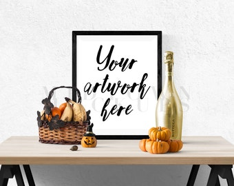 Fall, Halloween Product / Frame Mock Up for Bloggers, Wall Art Display Template Styled Desk Photography