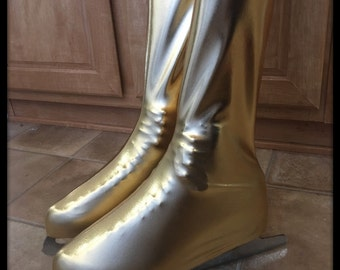 Knee High Covers in METALLIC GOLD Spandex-For Figure Skates/Roller Derby/Quad Skates-Choose Child Or Adult