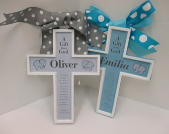 GIFT SET of Twin Cross Baptism Christianity Set to Honor a Birth, Christening , Baptism, God Bless, 1st Communion