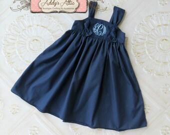 Navy Knot Dress, Monogrammed Knot Dress, Wedding Dress, Flower Girl Dress, Beach Dress, Toddler Girls Dress, Baby Girl Dress, Sundress